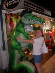 Me, dancing with an alligator at Riverwalk